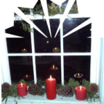 A kitchen window reflects the mood of the season